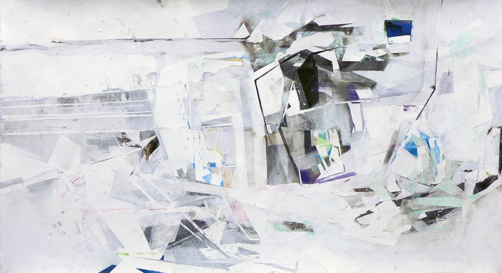 "Something Trivial, 20""x44"", Monotype, Latex Paint, Acrylic, Fumage, 2015"