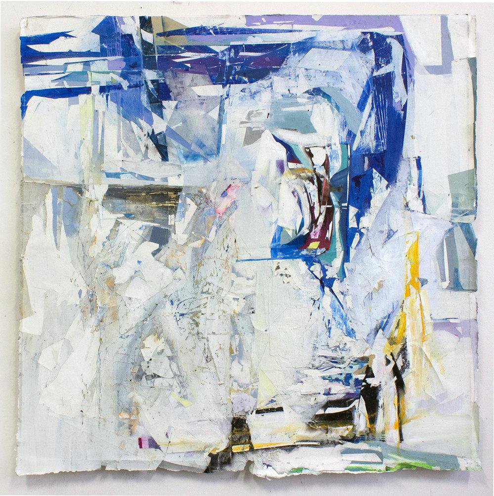 "Like Christmas, 41""x41"", Acrylic, Collage, Decollage, Pastel, Fumage on Panel, 2016"