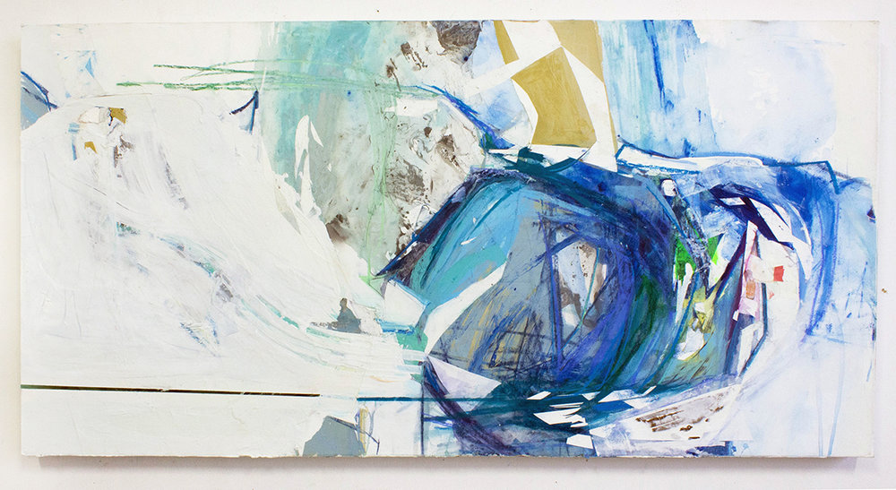 "Without the Sound, 24""x48"", Latex Paint, Collage, Decollage, Pastel on Panel, 2016"
