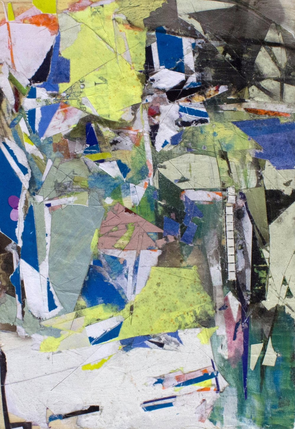 "5 3/4""x3 3/4"", Found Scraps of Paper, Collage, Fumage, 2016"