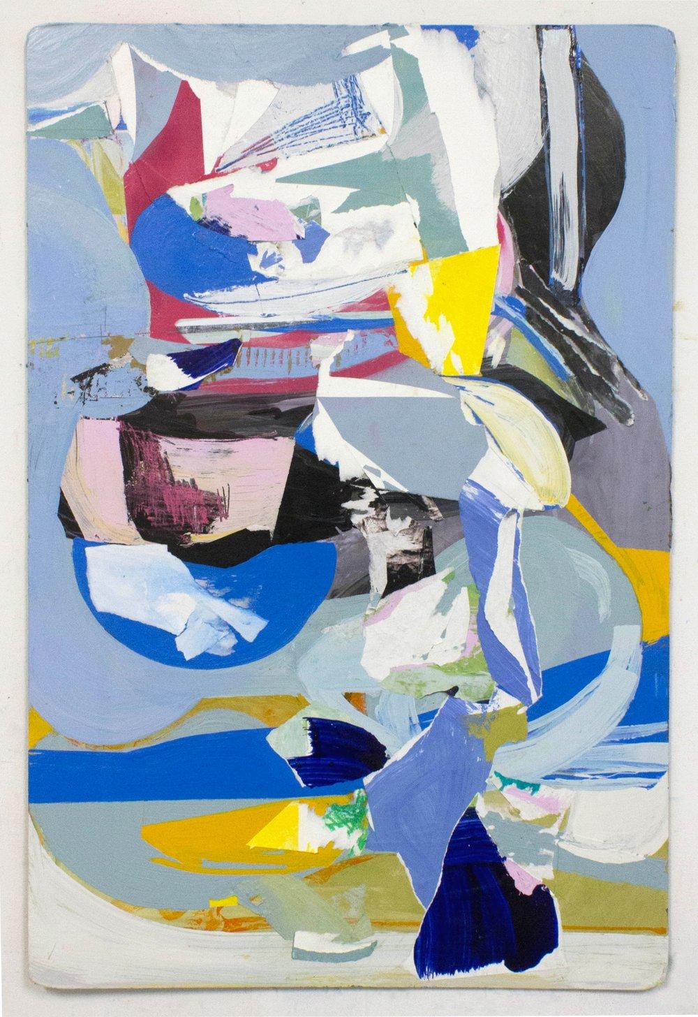 """Keep On ,36""""x24"""", Latex Paint, Collage, Pastel on Panel, 2017"""