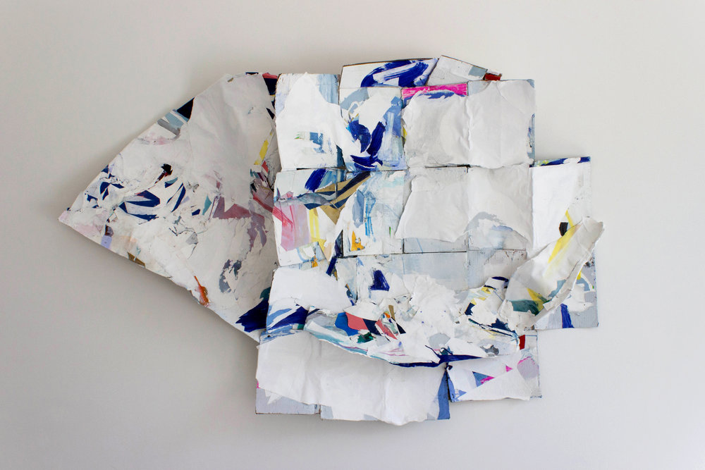"""Not Allowed to be Soft ,60""""x72"""",Latex Paint, Collage on Cardboard,2017"""