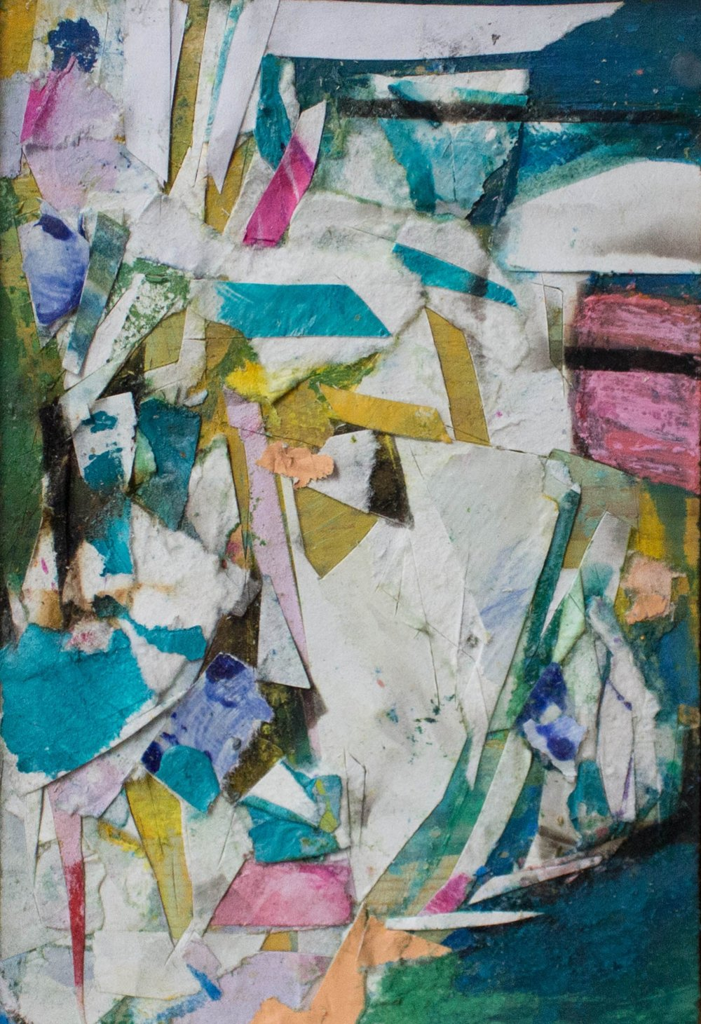 "52 Pieces, 5 3/4""x3 3/4"", Found Scraps of Paper, Collage, Fumage, 2016, sold"