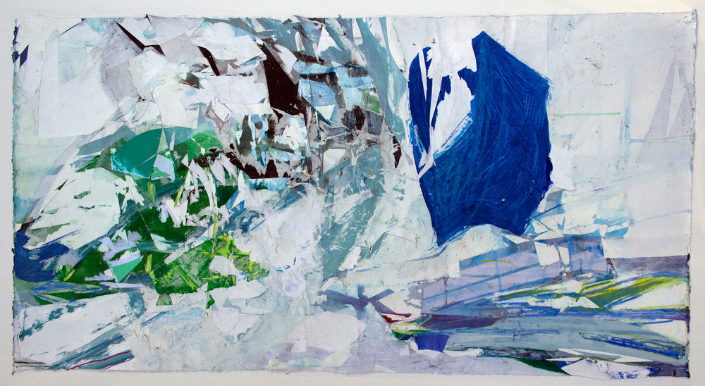 "They Are Broken Stones , 20""x44"", Monotype,Acrylic, Collage, 2017"