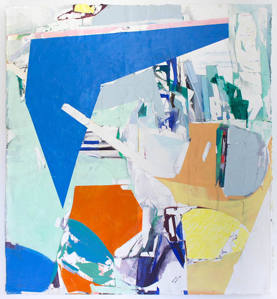 """More Than That , 50""""x40"""",Acrylic, Collage, Monotype on paper, Mounted on Panel, 2017"""