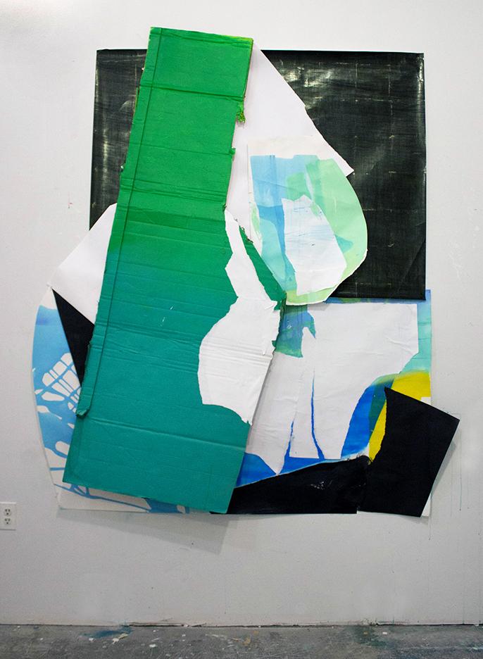 "Jump Starter ,80""x63"", Cardboard, Acrylic, Paper, Collage, Spray Paint, 2017"