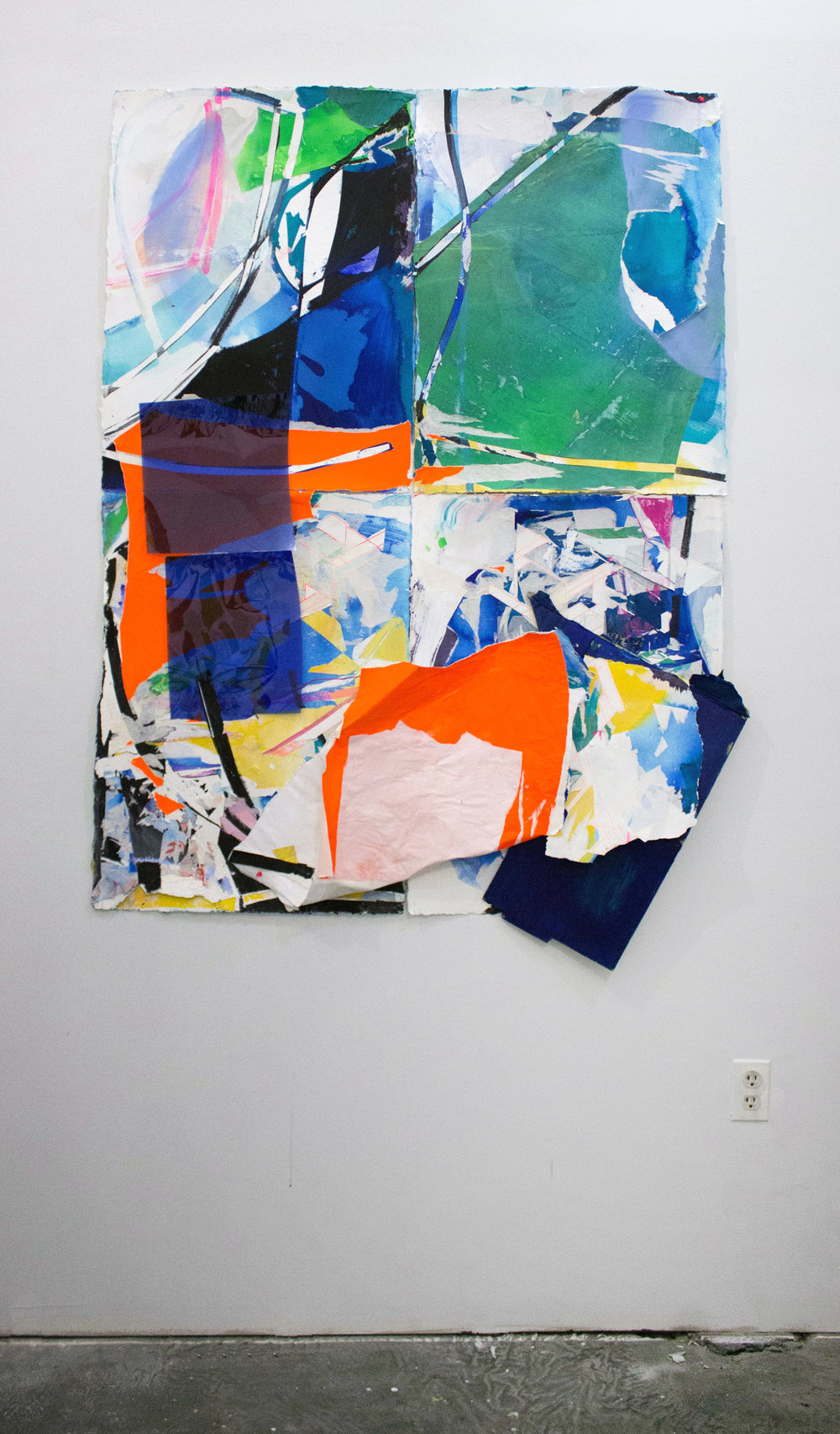 """Shifting Context,  61""""x49"""",Cardboard, Acrylic, Spray Paint, Plastic,Collage, 2017"""