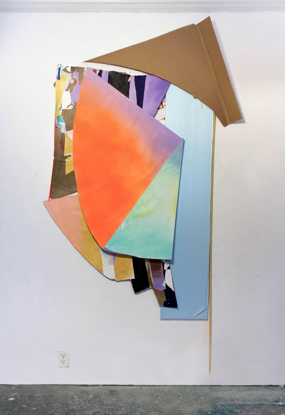 "Towards the Corner, 86""x43""x7"", Styrofoam, Cardboard, Spray Paint, Collage, Wood, 2018"