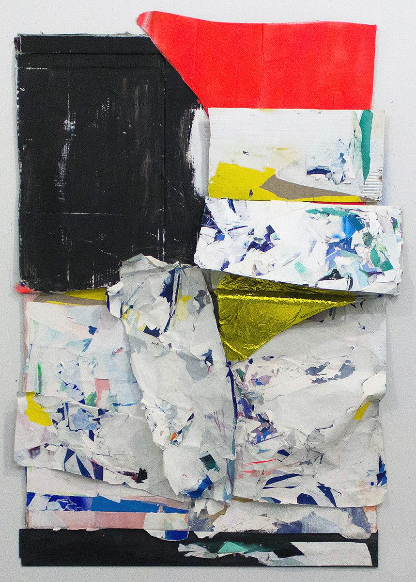 "Armor,  63""x46""x5"", Cardboard, Acrylic, Wood, Balloon, Collage, 2017"