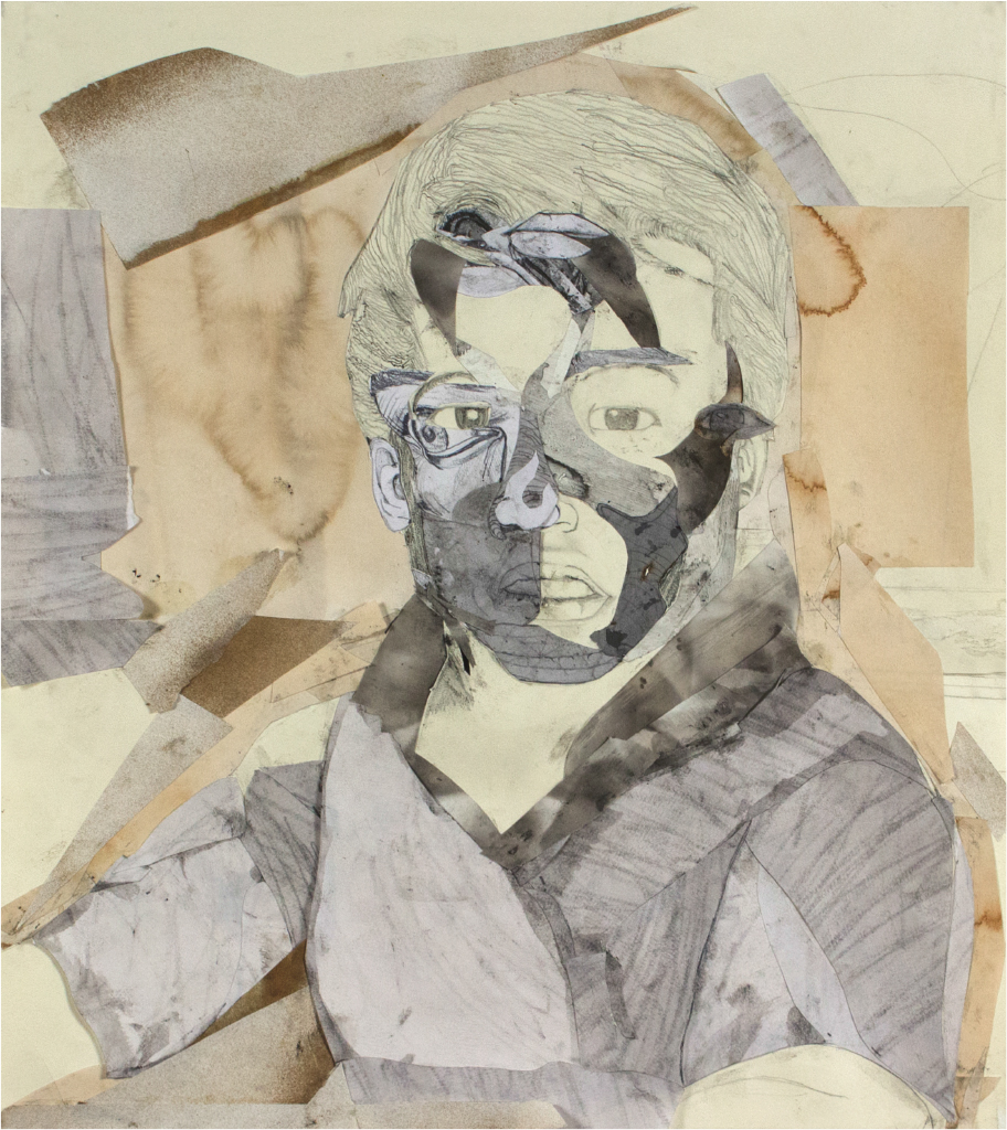 Oscar Morel, Introduction to Drawing, Self Portrait: Person, Place, Thing, Graphite, Collage, DePauw University, 2016