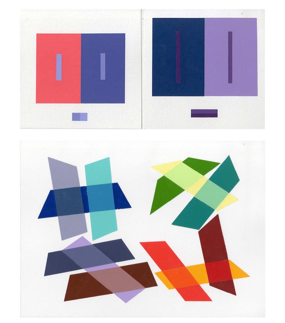Hannah Jungemann, T. Flannag, N. Afoaku, Color & 2D Design, Middle Mixture Study, Simultaneous Contrast Study, Color Aid, Indiana University, 2013