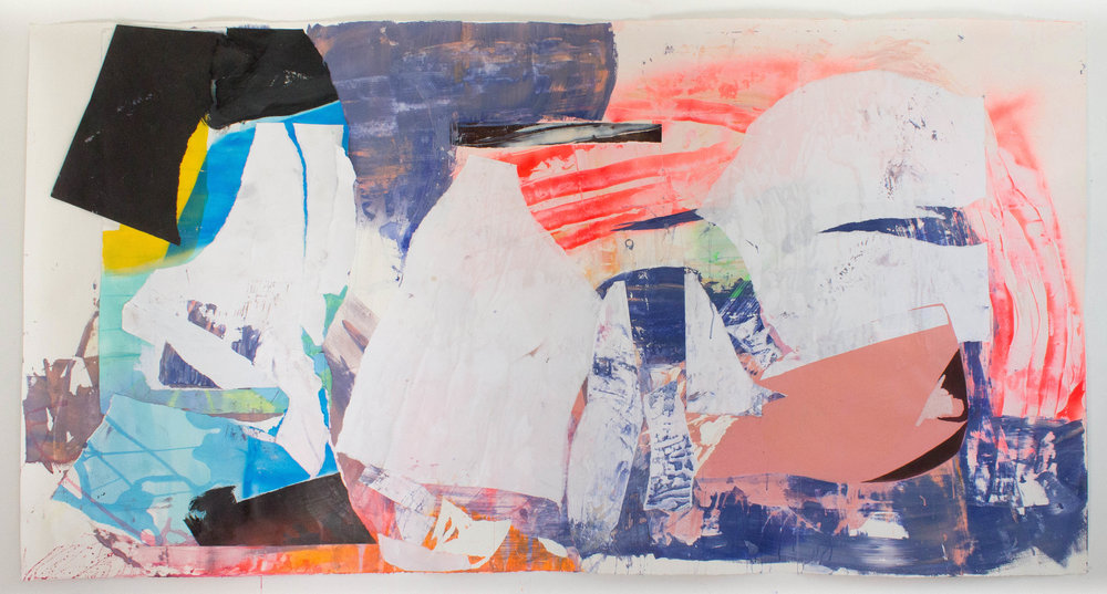 "Simulacrum, 51""x98"", Acrylic, Spray Paint, Collage, Décollage on Paper, 2018"