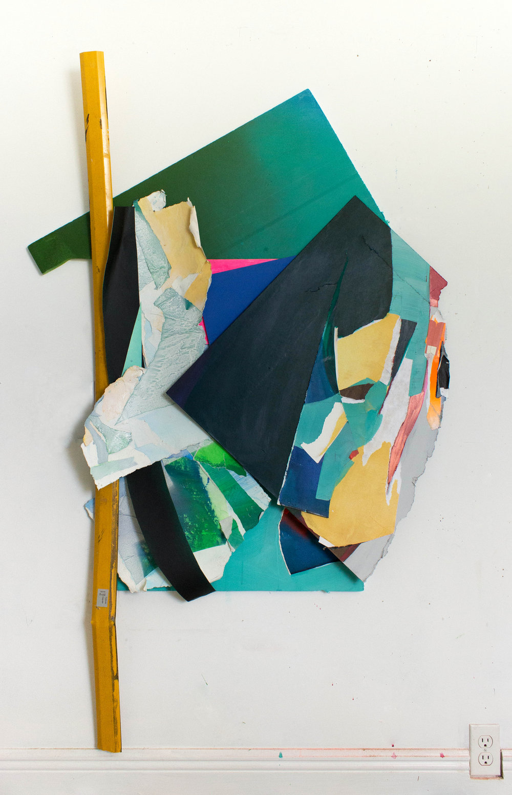 "Ready.Set., Found Plastic, Cardboard, Acrylic on Foamboard, Paper, and Panel, 62""x40"", 2018"