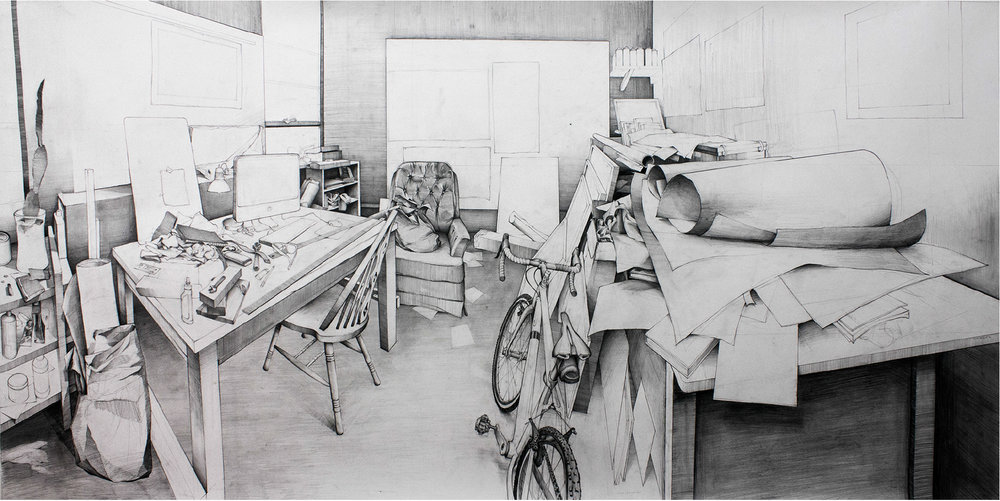 "Sean Hurley - MY STUDIO - 44"" x 90"" - Graphite"