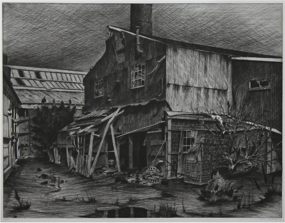 "Sean Hurley - PIGEON COVE - 19.5 "" x25.5 "" - Etching with spitbite"
