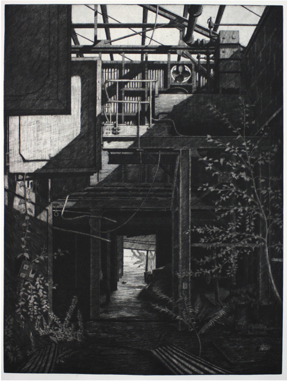 "Sean Hurley - DOORWAY - 23.75 "" x17.75 "" - Etching and aquatint"