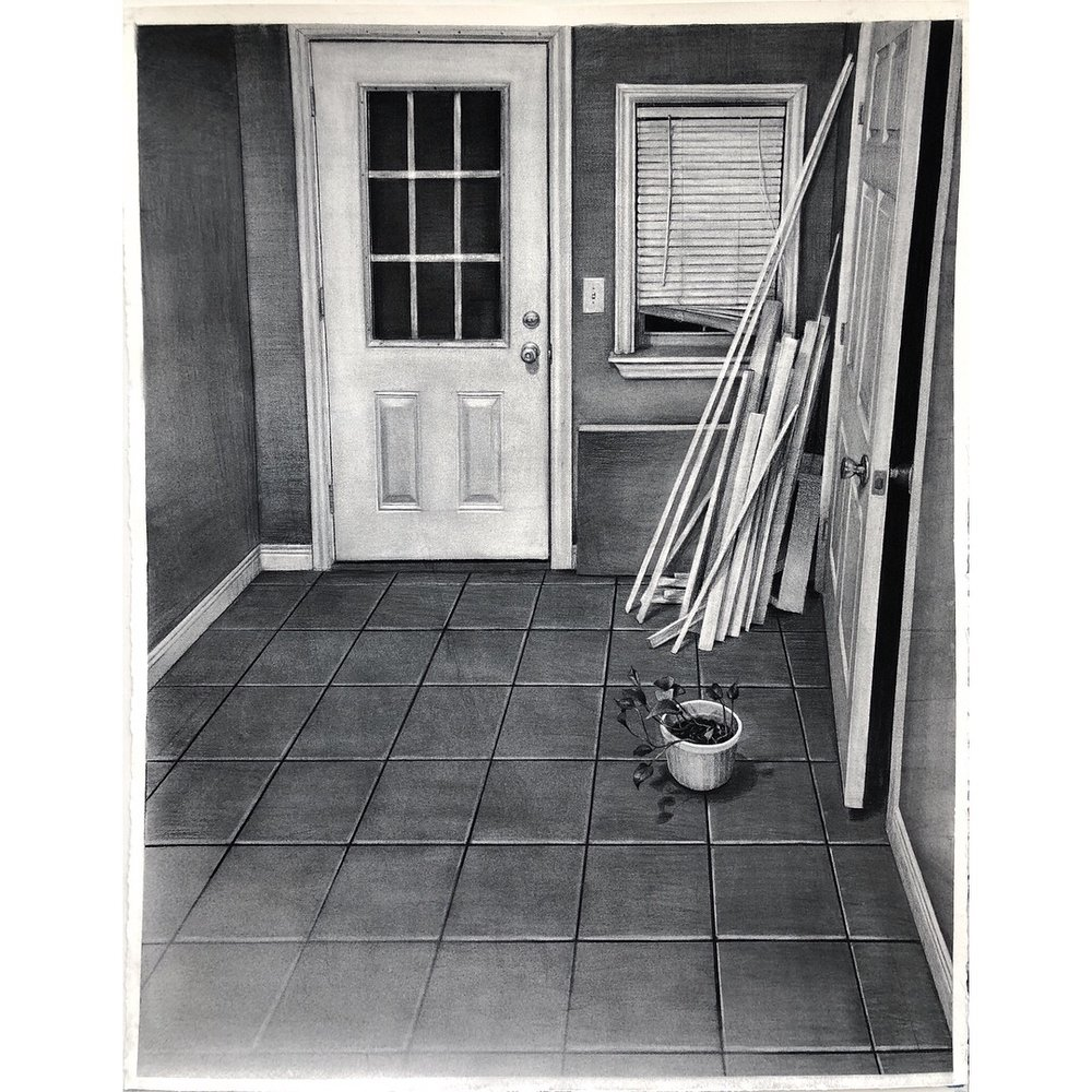 "Sean Hurley - ENTRANCE - 52"" x 40"" - Charcoal"