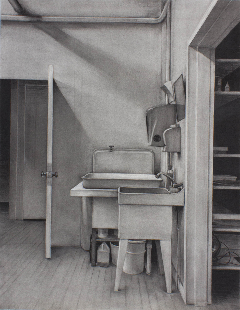 "Sean Hurley - STUDIO SINK, JOHNSON, VT - 48"" x 36"" - Charcoal"