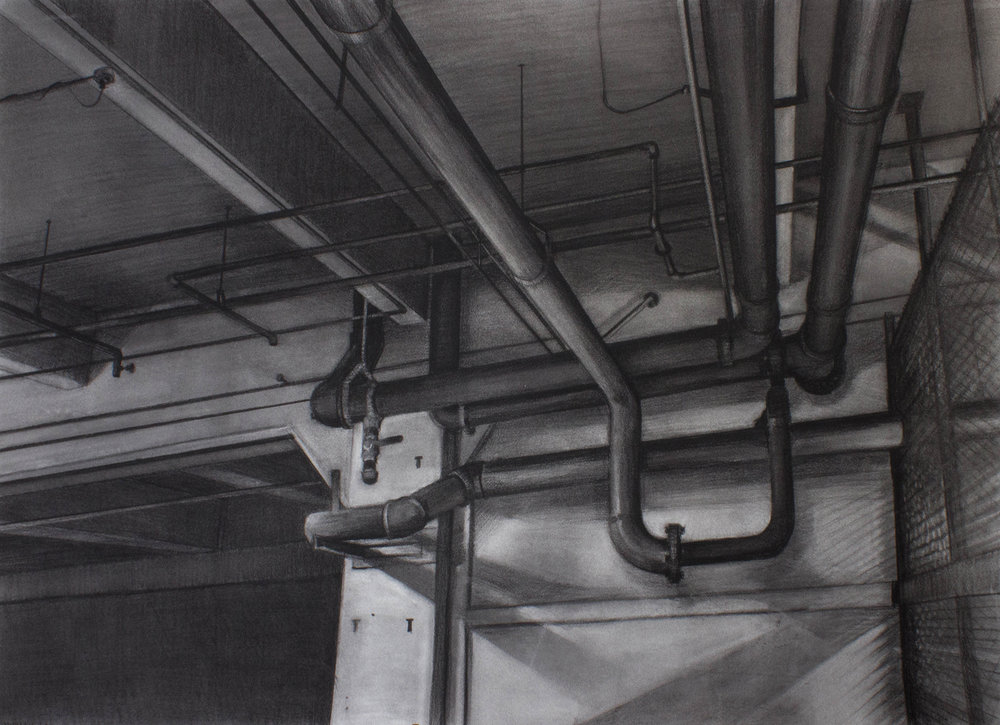 "Sean Hurley - PIPES - 30"" x 42"" - Charcoal"