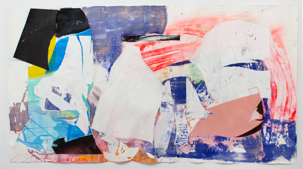 """Simulacrum, 51""""x98"""", Acrylic, Spray Paint, Collage, Décollage on Paper, 2018"""
