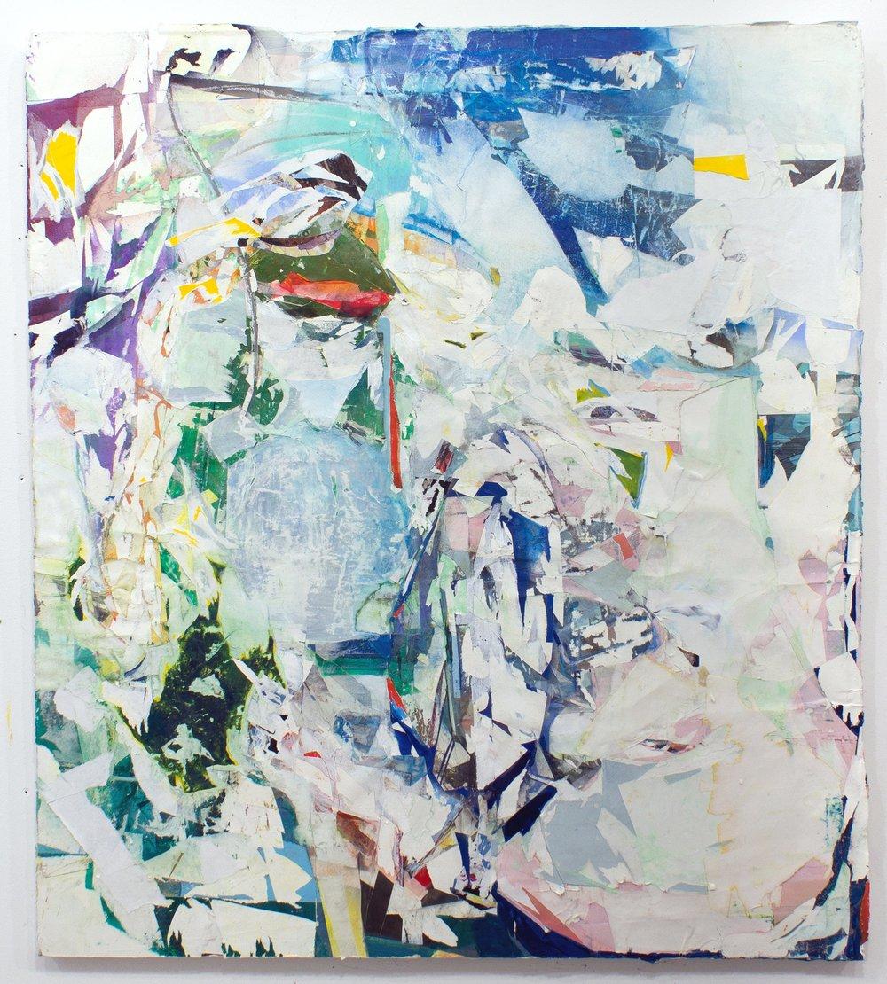 "Notice. Novice. 48""x36"", Acrylic, Spray Paint, Collage, Décollage, Pastel, 2018"