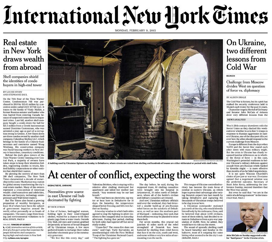 International New York Times, 9 February 2015