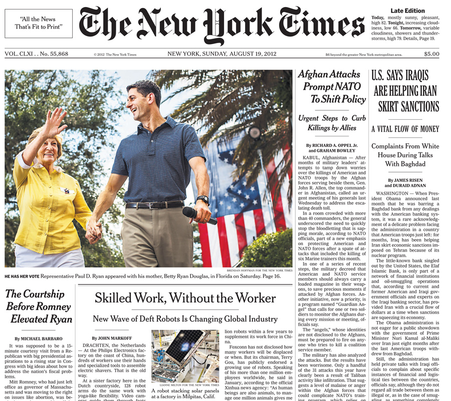 The New York Times, 19 August 2012