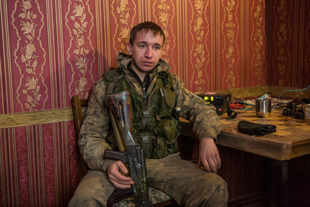 A fighter for the self-proclaimed Donetsk People's Republic. Gorlovka, Ukraine. January 2015.
