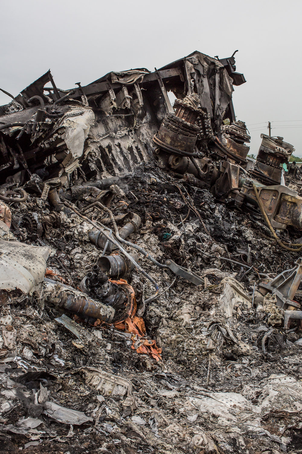 Debris from the crash of Malaysia Airlines flight MH17. Grabovo, Ukraine. July 2014.