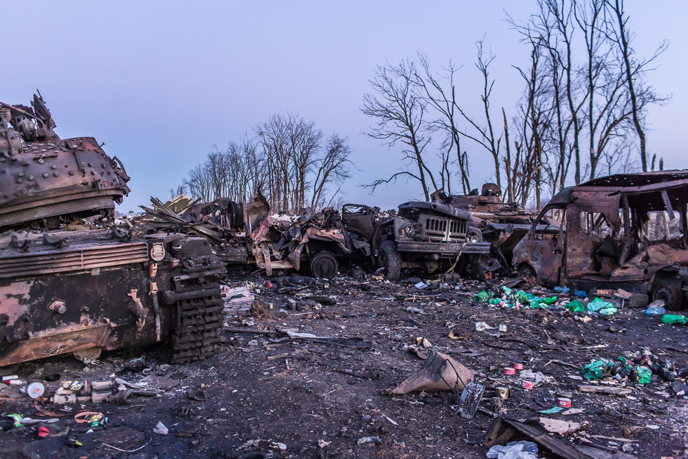 After the battle. Debaltseve, Ukraine. February 2015.