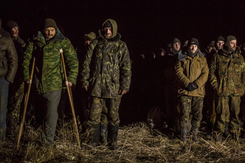 Captured Ukrainian soldiers before a prisoner exchange. Novotoshkivske, Ukraine. February 2015.