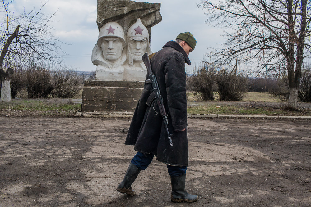 A fighter for the Donetsk People's Republic. Zaitseve, Ukraine. March 2016.