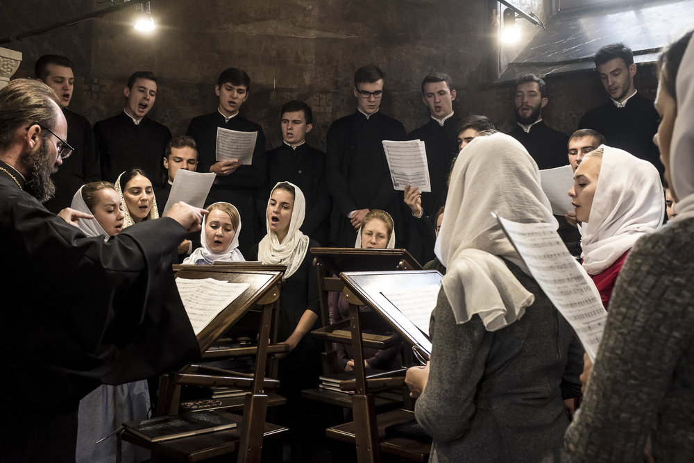 Members of the choir of the Kyiv Theological Academy during Sunday Liturgy services at the Refectory Church of Sts. Anthony and Theodosius at the Kyiv-Pechersk Lavra on Sunday, October 7, 2018 in Kyiv, Ukraine.