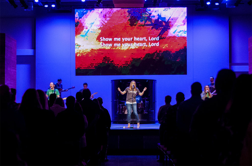 Chase Oaks Church LED screen in Fairview Texas. Installed by Infinity Sound  of Grand Prairie Texas. - Aeson P3.91 Video walls