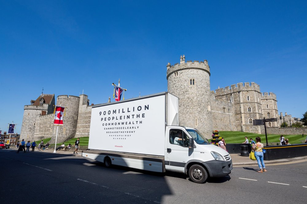Disruptive messaging for week of CHOGM, and van brandishing our campaign poster driving around London and Windsor