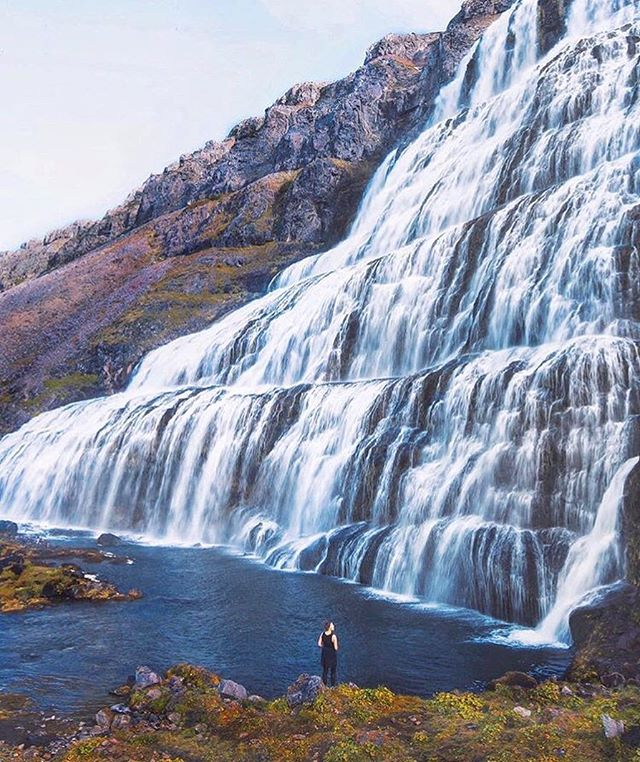 Wanderlusting after an Iceland hike. Love this photo of @heythisisnora at the #Dynjandi waterfall series. | #PrettyGirlsHike