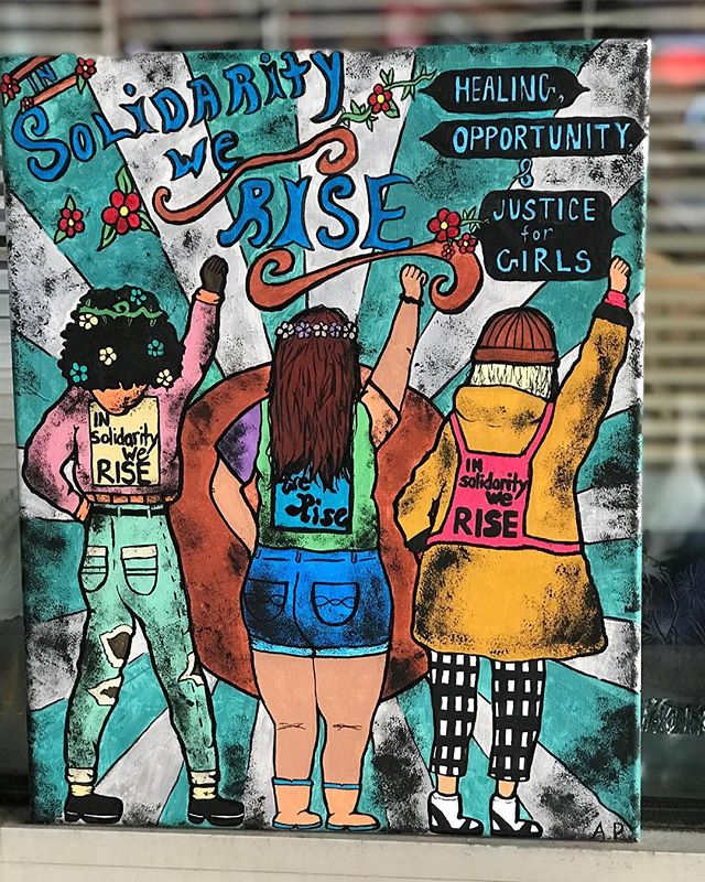 """We're trying something new each week until the June exhibition with artistic noise! WEEKLY #artist SPOTLIGHT. Each week we will have an #appreciationpost for our artists. This weeks artist- Arianna @simbaart_  Title of piece- """" In Solidarity We Rise """" This piece shows #unity & how strong women can be if we all come together. #artisticnoise"""
