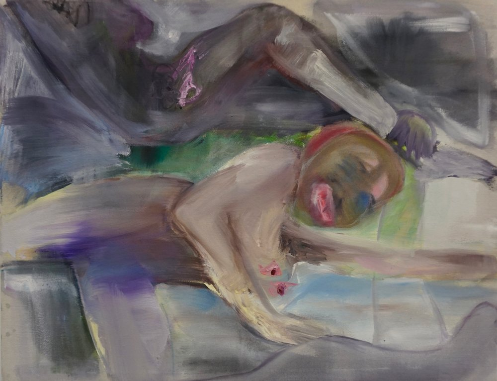 nach marlene dumas, indifference, 1993-1994, öl auf leinwand, 75 x 57 cm