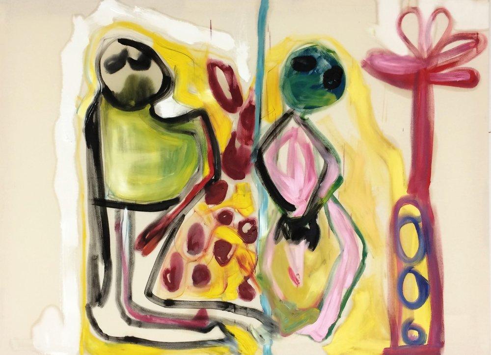 Ohne Titel, April 2018, Öl auf ungrundierter Leinwand, 120 x 165 cm