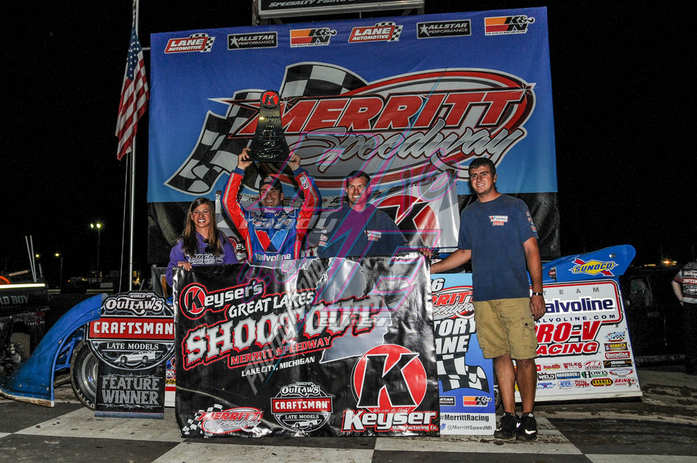 Josh Richards won the Sunday night portion of the Inaugural Keyser's Great Lakes Shootout at Merritt