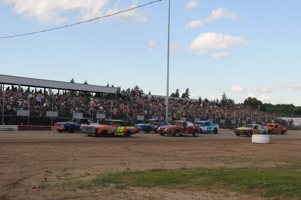 Merritt drivers racing in front of a sold-out crowd, Sunday, July 3, 2017