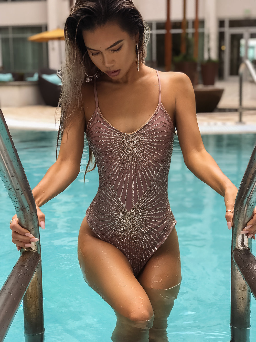 Luxe Swim - The CheyenneKimora Luxe Swim is a vacation must have. It is embellished with a glitter print, and are double lined for comfort. #handmade