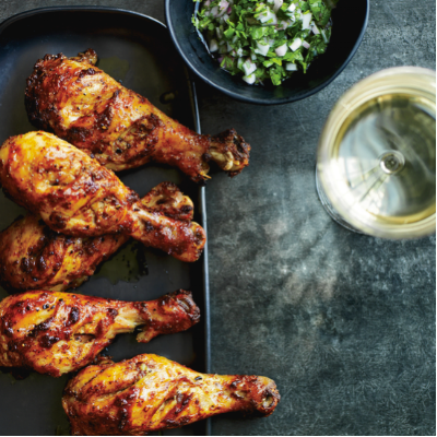 Tandoori Chicken Drumsticks with Cilantro-Shallot Relish (Food + Wine)