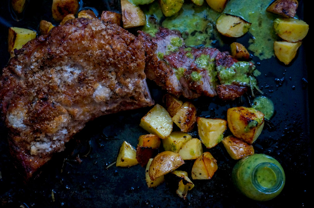 Roasted Picanha with potatoes and salsa verde