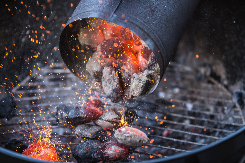 Hot coals on a grill