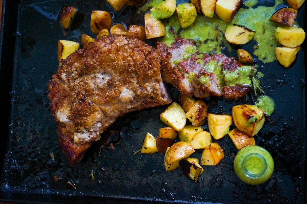 Roasted Picanha with salsa verde and roasted potatoes
