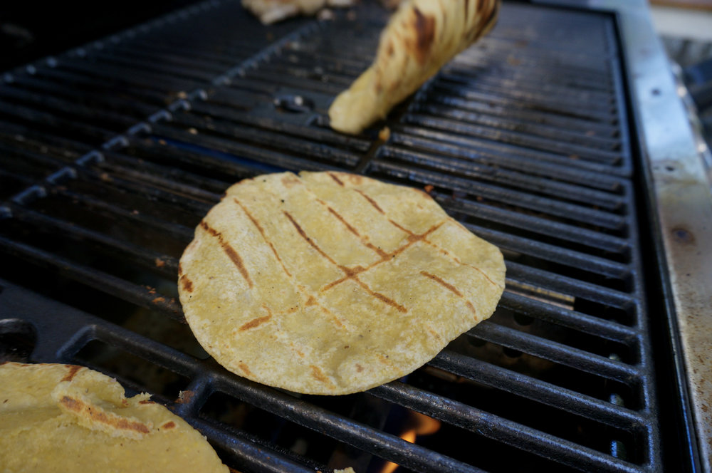 Tortillas acquire a great crunch in a short time on the grill.
