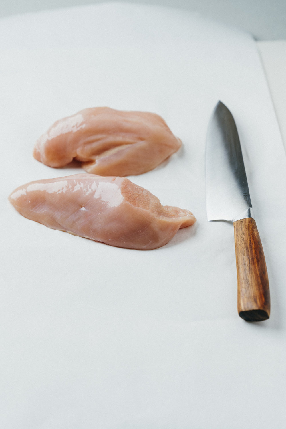 Chicken breasts clearly lack the heavier fats of red meat.