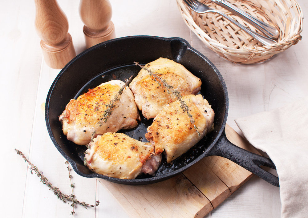 Delicious one-pan chicken thighs.