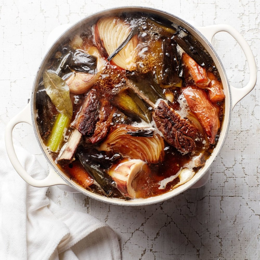 Spent roast chicken carcasses are perfect for bone broth.
